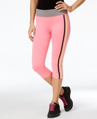 Energie Active Juniors' Paula Striped Cropped Leggings Candy Pink