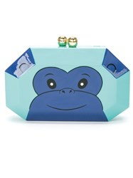 Serpui Enamel 'Monkey' Clutch Green