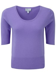 Pure Collection Tabor Crop Cashmere T Shirt Deep Lavender