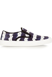 Mother Of Pearl Achilles Floral Print Twill Slip On Sneakers Blue