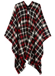 Boutique Moschino Checked Wool Blend Cape Red