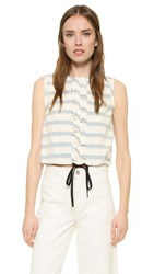 Red Valentino Drawstring Ruffle Top Blue White