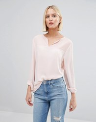Selected Blouse Witth Semi Sheer Insert Pink