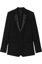 Adam By Adam Lippes Silk Satin Trimmed Wool Blend Blazer Black