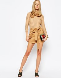 The Laden Showroom X Re Dream Hipster Mini Skirt With Tie Waist Camel