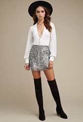 Forever 21 Raga Sequined Mini Skirt Silver