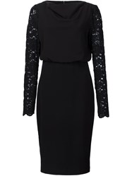 Badgley Mischka Lace Sleeve Dress Black