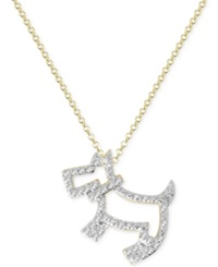Victoria Townsend Diamond Accent Scottie Dog Pendant Necklace In 18K Gold Over Sterling Silver