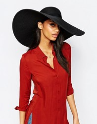French Connection Wide Brim Floppy Straw Hat Black