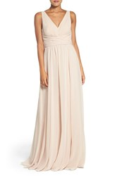 Amsale Women's 'Justine' Double V Neck Chiffon Gown Fawn