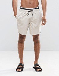 Asos Swim Shorts In Stone With Double Waistband In Mid Length Beige