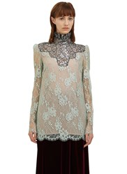 Lanvin Metallic Scalloped Lace Top Green