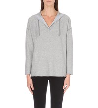 The White Company Striped Hooded Knitted Hoody Grey Stripe