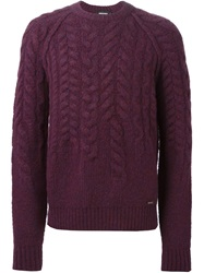 Dsquared2 Cable Knit Sweater Pink And Purple