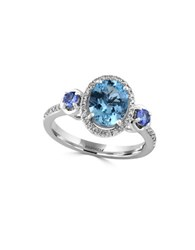 Effy Aquamarine Tanzanite Diamond And 14K White Gold Ring