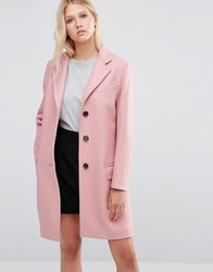 Gloverall Chesterfield Coat In Pink Pastel Pink