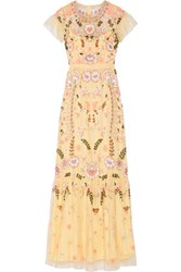 Needle And Thread Embellished Tulle Maxi Dress Pastel Yellow