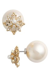 Marchesa Women's Faux Pearl And Crystal Double Stud Earrings