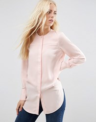 Asos Collarless Tunic Blouse With Contrast Piping Pink