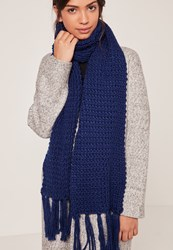 Missguided Chunky Knit Tassel Scarf Navy