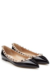 Valentino Two Tone Patent Leather Rockstud Ballet Flats Black