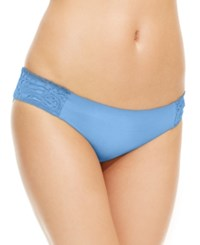 Becca Solid Lace Applique Side Tab Bikini Bottom Women's Swimsuit Chambray