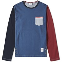 Thom Browne Long Sleeve Jersey Pocket Tee Multi