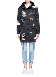Mira Mikati 'Rain Rain Go Away' Print Padded Raincoat Black Multi Colour