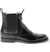 Gucci Brogue Detailed Polished Leather Chelsea Boots Black