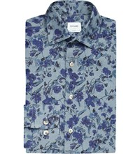 Duchamp Floral Tailored Fit Denim Shirt Blue