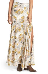 Free People Women's Floral Print Crepe Maxi Skirt Neutral Combo