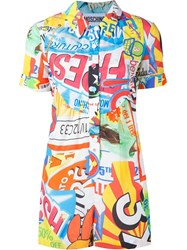 Moschino Collage Print Playsuit Multicolour