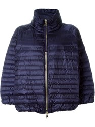 Moncler High Neck Padded Zip Jacket Pink And Purple