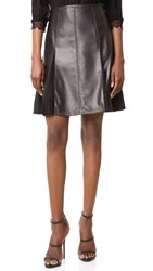 Yigal Azrouel Leather Flare Skirt Black