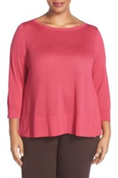 Halogen Button Back Boatneck Sweater Plus Size Red