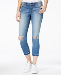 Dittos Cropped Ripped Medium Blue Wash Skinny Jeans
