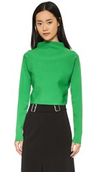 Tibi Mock Neck Ribbed Pullover Emerald Green