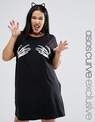 Asos Curve Halloween T Shirt Dress With Caviar Cheeky Skeleton Hands Black