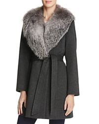 Sofia Cashmere Fur Collar Wool And Wrap Coat Charcoal