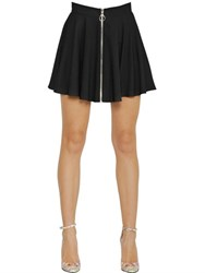 Jeremy Scott Zip Up Flared Techno Jersey Skirt