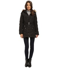 Jessica Simpson Belted Down With Faux Fur Trim Black Women's Clothing