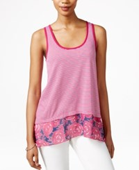 Bar Iii Maison Jules Floral Print Contrast Tank Top Only At Macy's Fuschia Red Combo
