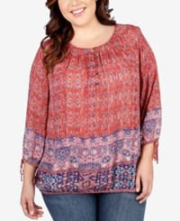 Lucky Brand Plus Size Tapestry Print Peasant Top Medium Red