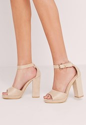 Missguided Platform Block Heel Barely There Sandals Nude Beige