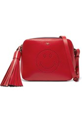 Anya Hindmarch Smiley Perforated Leather Shoulder Bag Red
