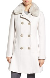 Kate Spade Women's New York Double Breasted Twill Coat With Faux Fur Collar