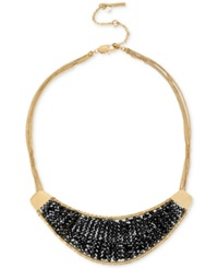 Kenneth Cole New York Gold Tone Woven Black Bead Drama Necklace
