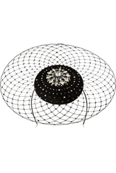 Philip Treacy Swarovski Crystal Embellished Velour Veiled Headpiece