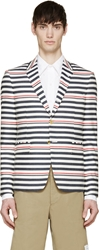Thom Browne Red And Navy Striped Blazer