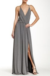Go Couture Solid V Neck Tank Slit Maxi Dress Gray